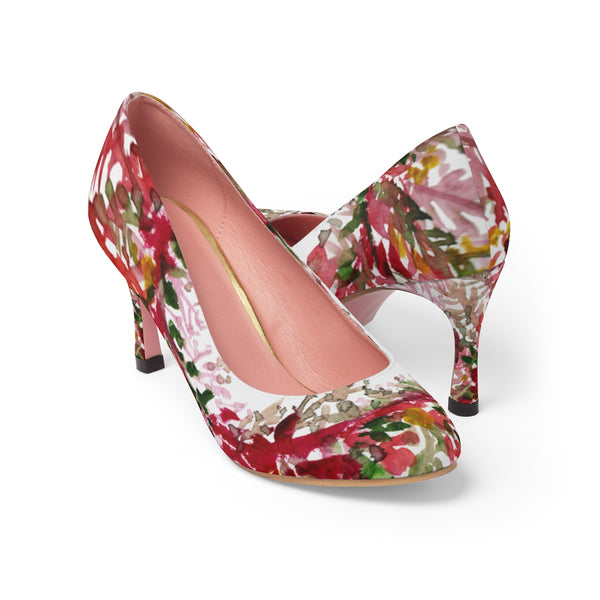 "Red Leaves Floral Autumn/ Fall Print Women's Designer 3"" High Heels Shoes (US Size 5-11)-3 inch Heels-US 7-Heidi Kimura Art LLC"