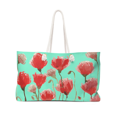 "Blue Red Poppy Flowers Floral Print Oversized Designer 24""x13"" Large Weekender Bag-Weekender Bag-24x13-Heidi Kimura Art LLC"