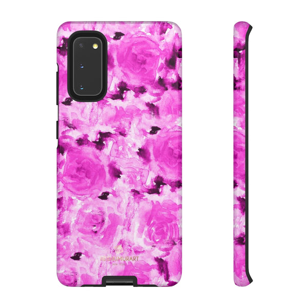 Hot Pink Floral Print Phone Case, Abstract Print Tough Cases, Designer Phone Case-Made in USA-Phone Case-Printify-Samsung Galaxy S20-Glossy-Heidi Kimura Art LLC