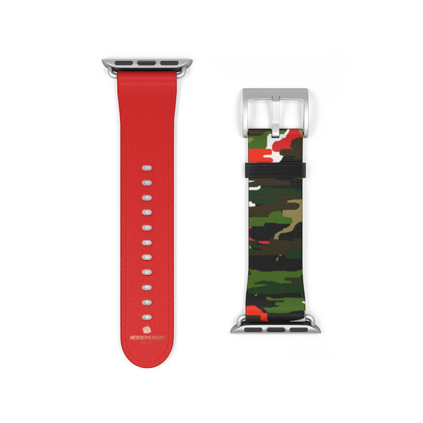 Green & Red Camo Army Print 38mm/42mm Watch Band For Apple Watch- Made in USA-Watch Band-38 mm-Silver Matte-Heidi Kimura Art LLC