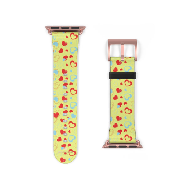 Light Yellow Red Hearts Shaped Valentines Day Print Premium 38mm/42mm Watch Band- Made in USA-Watch Band-38 mm-Rose Gold Matte-Heidi Kimura Art LLC