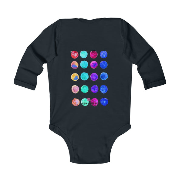 Polka Dots Printed Cute Super Soft Cotton Infant Long Sleeve Bodysuit - Made in UK-Kids clothes-Heidi Kimura Art LLC