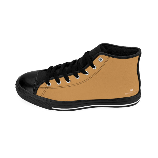 Men's Brown Modern Sneakers, Sand Brown Solid Color Print Designer Men's Shoes, Men's High Top Sneakers US Size 6-14, Mens High Top Casual Shoes, Unique Fashion Tennis Shoes, Solid Color Sneakers, Mens Modern Footwear (US Size: 6-14)