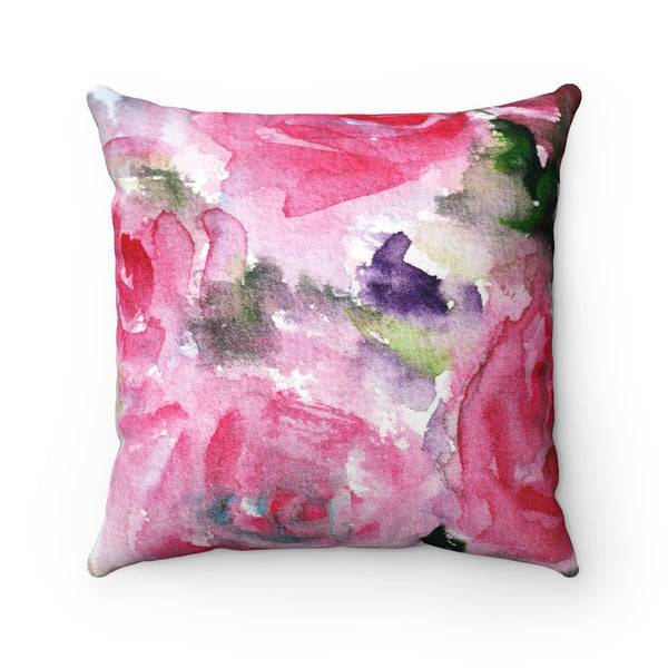 Sadashi Ambitious Pink Rose Floral Pattern Luxury Faux Suede Square Pillow Cover Pillow Set - Made in USA - Heidi Kimura Art LLC