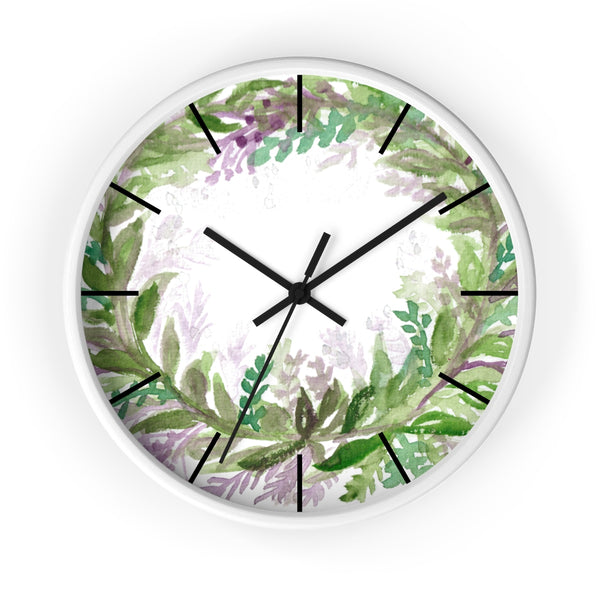 French Lavender Purple Floral Rose Print 10 inch Diameter Wall Clock - Made in USA-Wall Clock-White-Black-Heidi Kimura Art LLC