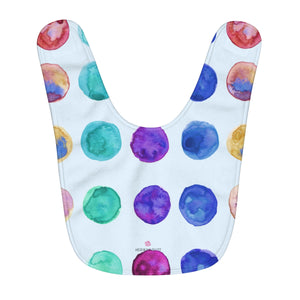 Colorful Polka Dots Colorful Print Fleece Baby Bib - Designed and Made in USA-Baby Bib-One Size-Heidi Kimura Art LLC