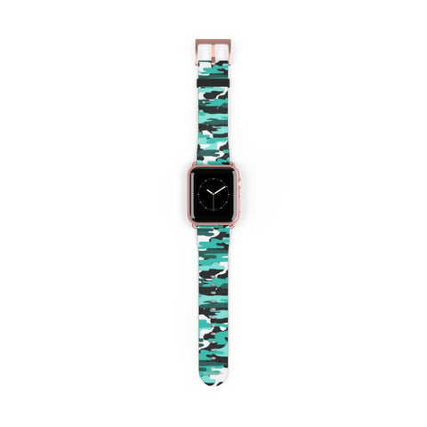 Blue Camo Army Military Print 38mm/42mm Watch Band For Apple Watch- Made in USA-Watch Band-38 mm-Rose Gold Matte-Heidi Kimura Art LLC Blue Camo Apple Watch Band, Blue Camo Camouflage Army Military Print  Pattern 38 mm or 42 mm Premium Best Printed Designer Top Quality Faux Leather Comfortable Elegant Fashionable Smart Watch Band Strap, Suitable for Apple Watch Series 1, 2, 3, 4 and 5 Smart Electronic Devices - Made in USA