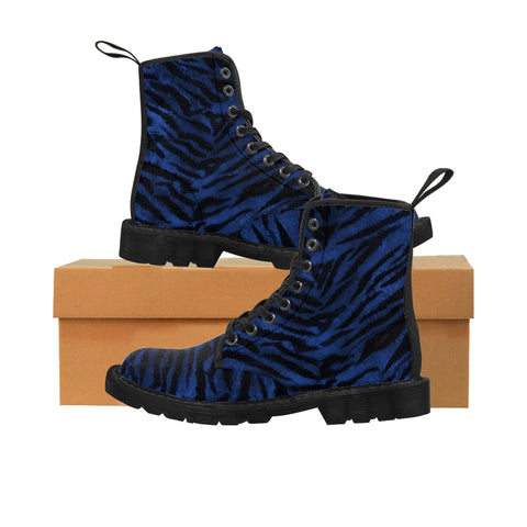 Blue Tiger Striped Men's Boots, Fierce Wild Tiger Striped Animal Print Designer Men's Lace-Up Winter Boots Men's Shoes (US Size: 7-10.5)