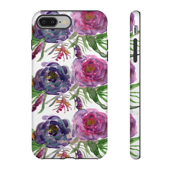 Pink Floral Print Phone Case, Roses Tough Designer Phone Case -Made in USA-Phone Case-Printify-iPhone 8 Plus-Matte-Heidi Kimura Art LLC