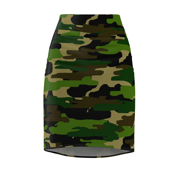 Kaoruko Green Camouflage Military Army Print Designer Women's Pencil Skirt - Made in USA (Size XS-2XL)