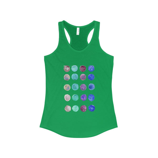 Polka Dots Colorful Designer Women's Ideal Racerback Tank -Made in the U.S.A.-Tank Top-Solid Kelly Green-XS-Heidi Kimura Art LLC