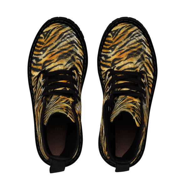 Orange Tiger Stripe Animal Print Designer Men's Winter Boots (US Size: 7-10.5)-Men's Boots-Heidi Kimura Art LLC
