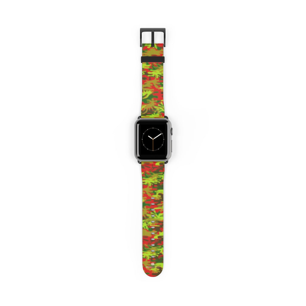 Red Green Red Camo Print 38mm/42mm Watch Band For Apple Watches- Made in USA-Watch Band-38 mm-Black Matte-Heidi Kimura Art LLC