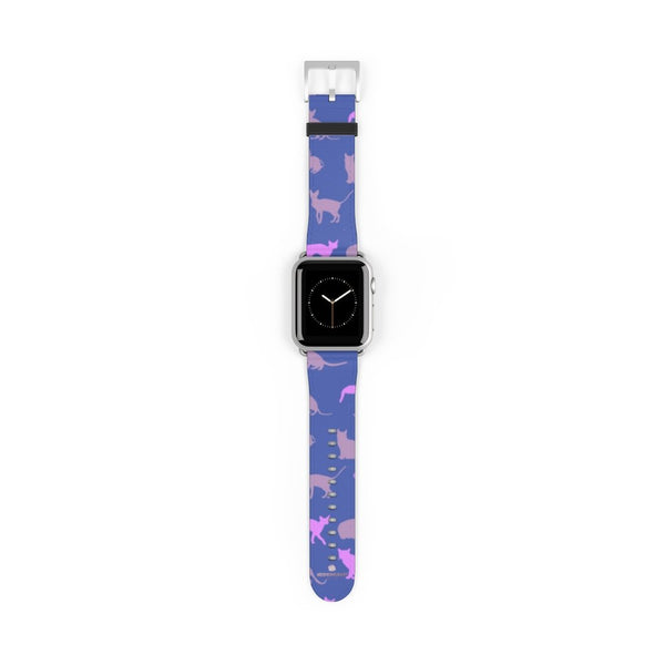 Purple Pink Cats Print 38mm/42mm Premium Watch Band For Apple Watch- Made in USA-Watch Band-38 mm-Silver Matte-Heidi Kimura Art LLC