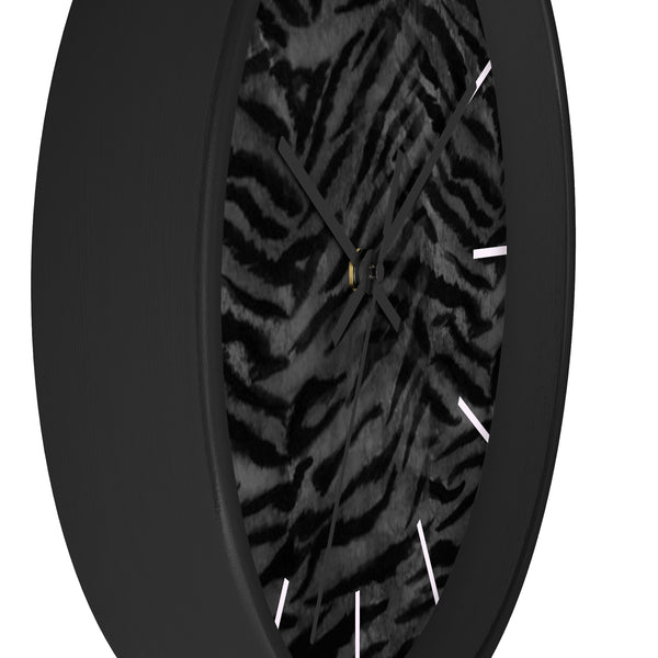 Black Tiger Stripe Wall Clock, Animal Print 10 inch Diameter Indoor Clock-Made in USA-Wall Clock-Heidi Kimura Art LLC