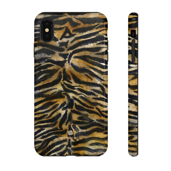 Brown Tiger Striped Tough Cases, Animal Print Best Designer Phone Case-Made in USA-Phone Case-Printify-iPhone XS MAX-Glossy-Heidi Kimura Art LLC