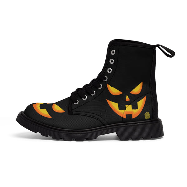 Halloween Pumpkin Face Men's Lace-Up Winter Boots Men's Shoes (US Size: 7-10.5)-Men's Winter Boots-Heidi Kimura Art LLC Halloween Pumpkin Face Men's Boots, Halloween Pumpkin Face Print Designer Men's Lace-Up Winter Boots Men's Shoes (US Size: 7-10.5)
