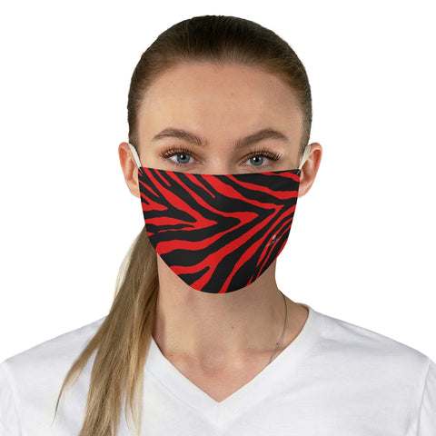 "Red Zebra Stripe Face Mask, Aknimal Print Adult Modern Fabric Face Mask-Made in USA-Accessories-Printify-One size-Heidi Kimura Art LLC Red Zebra Stripe Face Mask, Animal Print Adult Face Mask, Fashion Face Mask For Men/ Women, Designer Premium Quality Modern Polyester Fashion 7.25"" x 4.63"" Fabric Non-Medical Reusable Washable Chic One-Size Face Mask With 2 Layers For Adults With Elastic Loops-Made in USA"