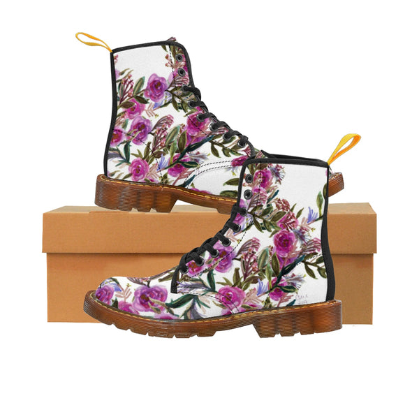 Vintage Style Pink Rose Floral Print Designer Women's Winter Lace-up Toe Cap Boots-Women's Boots-Brown-US 10-Heidi Kimura Art LLC