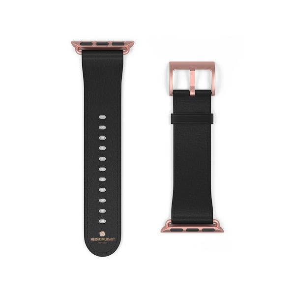 Black Solid Color Print 38mm/ 42mm Watch Band Strap For Apple Watches- Made in USA-Watch Band-38 mm-Rose Gold Matte-Heidi Kimura Art LLC