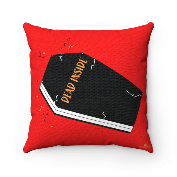 "Dead Inside Red Coffin Print Halloween Premium Spun Polyester Square Pillow- Made in USA-Pillow-14"" x 14""-Heidi Kimura Art LLC"