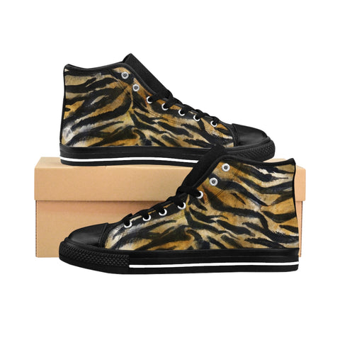Brown Tiger Striped Women's High Tops, Animal Print Designer High Top Sneakers Shoes-Women's High Top Sneakers-US 9-Heidi Kimura Art LLC