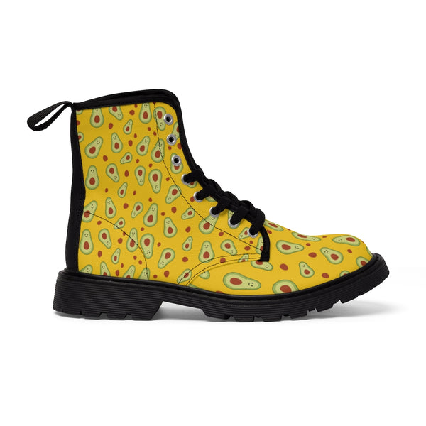 Avocado Women's Canvas Boots, Yellow Winter Laced Up Combat Boots For Vegan Loving Ladies-Women's Boots-Printify-ArtsAdd-Heidi Kimura Art LLC