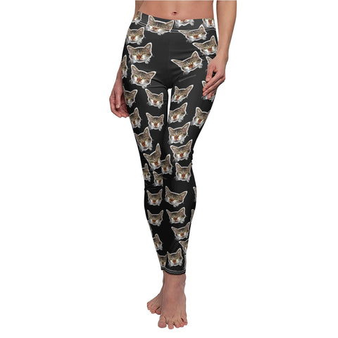 Black Peanut Meow Cat Cute Calico Print Women's Casual Yoga Tights/Leggings- Made in USA-All Over Prints-White Seams-M-Heidi Kimura Art LLC Black Peanut Casual Leggings, Meow Cat Cute Calico Print Women's Cut & Sew Casual Leggings - Made in USA (US Size: XS-2XL)