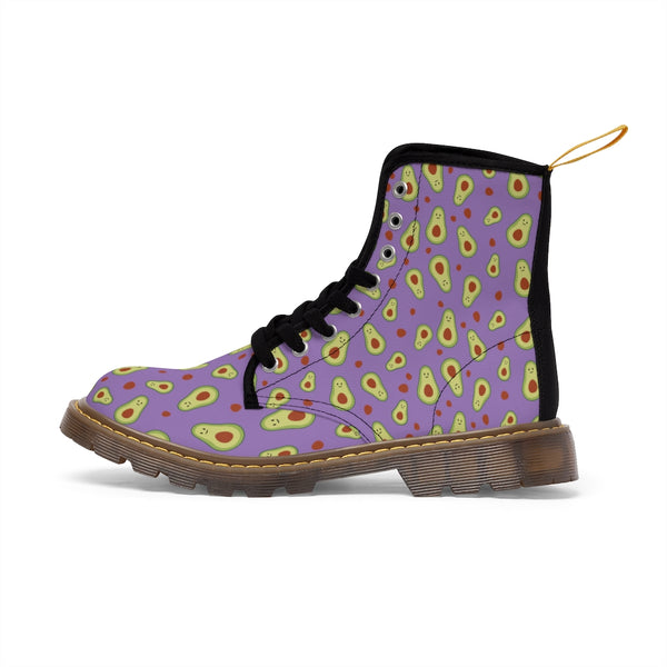Avocado Women's Canvas Boots, Purple Avocado Casual Fashion Gifts, Avocado Shoes For Vegan Lovers, Combat Boots, Designer Women's Winter Lace-up Toe Cap Hiking Boots Shoes For Women (US Size 6.5-11)