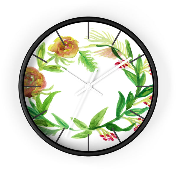 Orange Red Fall Roses Floral Print 10 inch Diameter Unique Wall Clock - Made in USA-Wall Clock-Black-White-Heidi Kimura Art LLC