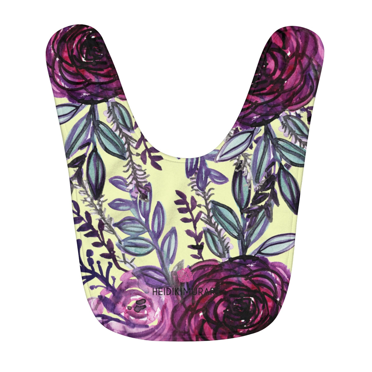 Purple Floral Rose Print Designer Cute Toddler Fleece Baby Bib - Made in USA-Kids clothes-One Size-Heidi Kimura Art LLC