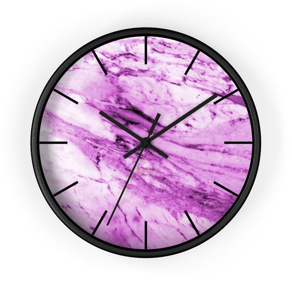 "Pink White Marble Print Art Large Indoor 10"" diameter Designer Wall Clock-Made in USA-Wall Clock-10 in-Black-Black-Heidi Kimura Art LLC"