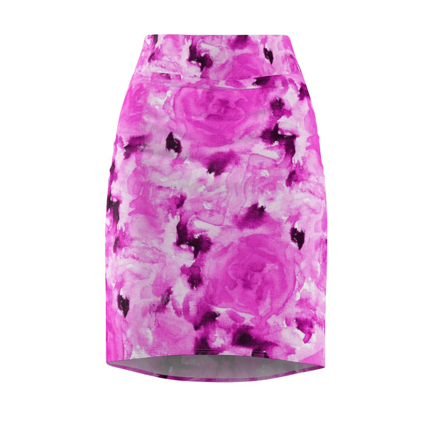 Pink Rose Floral Print Designer Women's Comfy Stretchy Pencil Skirt-Made in USA-Pencil Skirt-L-4 oz.-Heidi Kimura Art LLC