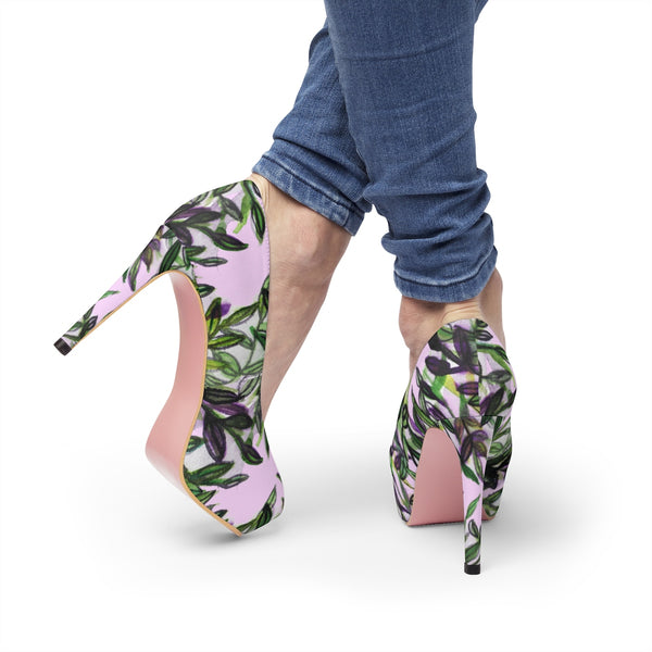 "Cherry Blossoms Floral Print Women's Light Pink Designer 4"" Platform Heels Shoes-4 inch Heels-Heidi Kimura Art LLC"