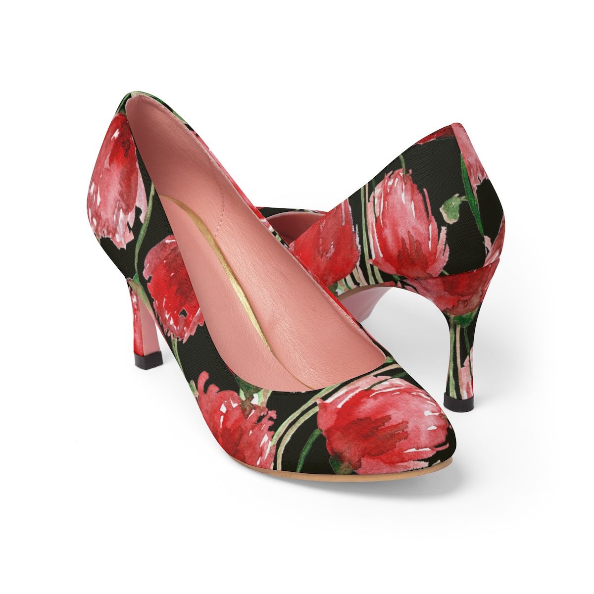 "Bright Red Poppy Flower Floral Print Designer Women's 3"" High Heels (US Size 5-11)-3 inch Heels-US 7-Heidi Kimura Art LLC"