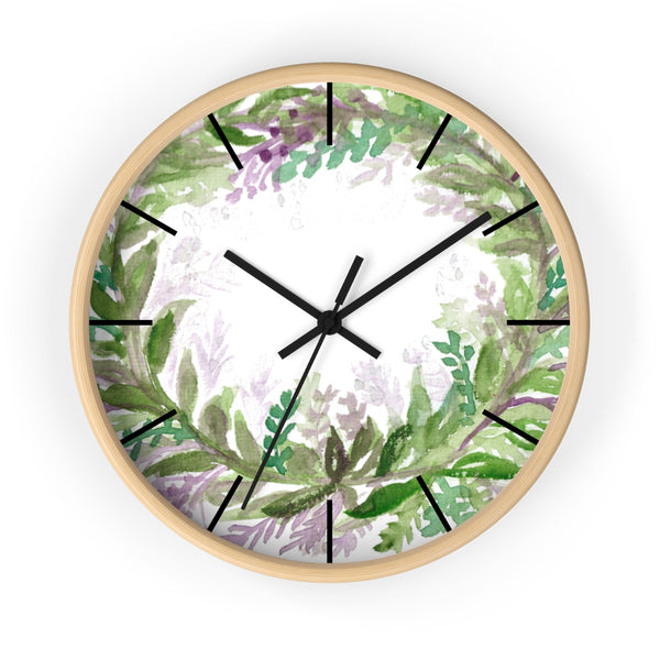 French Lavender Purple Floral Rose Print 10 inch Diameter Wall Clock - Made in USA-Wall Clock-Wooden-Black-Heidi Kimura Art LLC