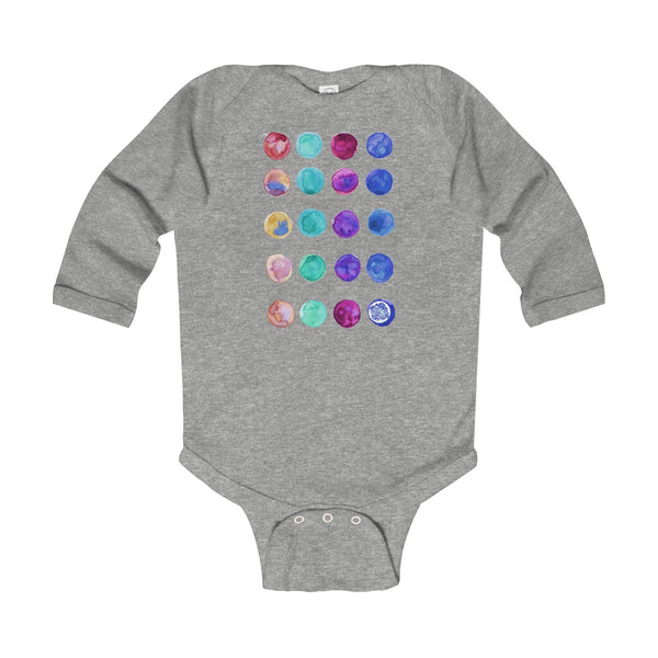 Polka Dots Print Baby's Cute Infant Long Sleeve Bodysuit - Made in UK (UK Size: 6M-24M)-Kids clothes-Heather-12M-Heidi Kimura Art LLC
