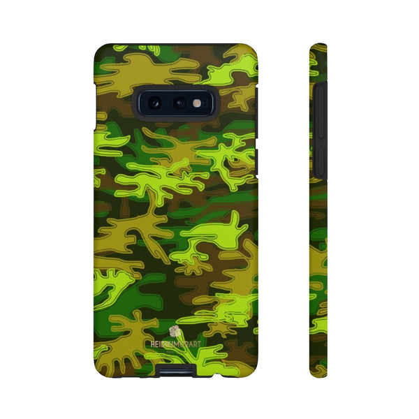 Green Camouflage Phone Case, Army Military Print Tough Designer Phone Case -Made in USA-Phone Case-Printify-Samsung Galaxy S10E-Matte-Heidi Kimura Art LLC