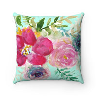 Toshikasu Red Rose Girlie Floral Wreath Spun Polyester Square 2-pc Pillow Cover Set - 14x14, 16x16, 18x18, 20x20 inches, Made in USA - Heidi Kimura Art LLC