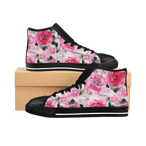 Pink Abstract Rose Floral Print Pink Designer Women's High Top Sneakers (US Size: 6-12)-Women's High Top Sneakers-US 9-Heidi Kimura Art LLC Pink Rose Women's Sneakers, Feminine Sporty Modern Pink Abstract Rose Floral Print Pink Designer Women's High Top Sneakers Tennis Running Shoes (US Size: 6-12)