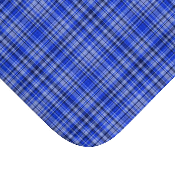 Blue Tartan Plaid Print Designer Bathroom Anti-Slip Microfiber Bath Mat-Printed in USA-Bath Mat-Heidi Kimura Art LLC