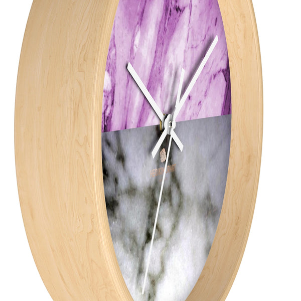 "Pink White Marble Print Art Large Indoor Designer 10"" dia. Wall Clock-Made in USA-Wall Clock-Heidi Kimura Art LLC"