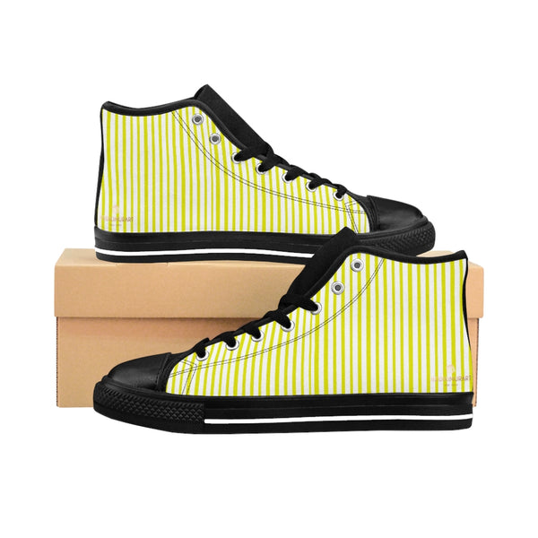 Yellow Striped High-top Sneakers, Modern Stripes Best Men's Designer Tennis Running Shoes-Shoes-Printify-Heidi Kimura Art LLC Yellow Striped Men's High-top Sneakers, Yellow White Modern Stripes Men's High Tops, High Top Striped Sneakers, Striped Casual Men's High Top For Sale, Fashionable Designer Men's Fashion High Top Sneakers, Tennis Running Shoes (US Size: 6-14)
