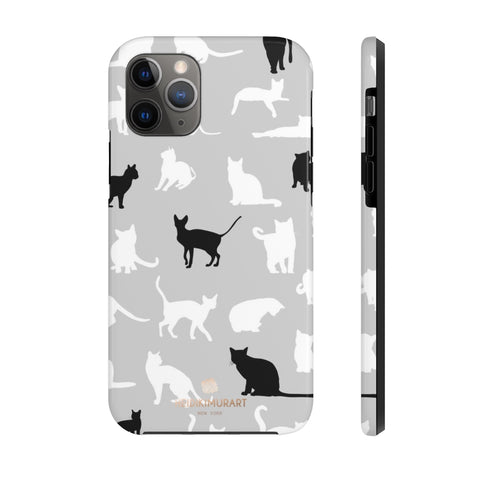 Black and White Cat Kitty Cute Case Mate Tough Phone Cases-Made in USA - Heidikimurart Limited  Cat Pattern iPhone Case, Cat Kitty Lover's iPhone Case Mate Tough iPhone + Samsung Phone Case - Made in USA