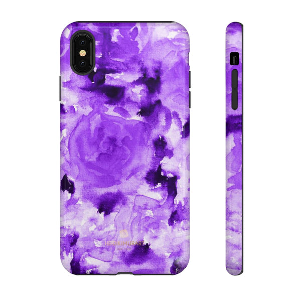 Purple Floral Rose Phone Case, Roses Floral Print Tough Designer Phone Case -Made in USA-Phone Case-Printify-iPhone XS MAX-Glossy-Heidi Kimura Art LLC