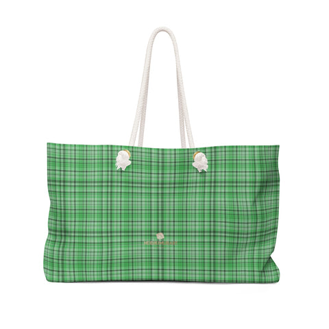 "Green Plaid Tartan Print Oversized Designer 24""x13"" Large Weekender Bag-Weekender Bag-24x13-Heidi Kimura Art LLC"