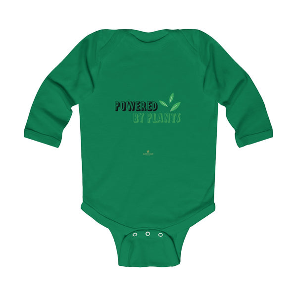 Cute Powered By Plants Vegan Baby Boy/Girls Infant Kids Long Sleeve Bodysuit - Made in USA-Infant Long Sleeve Bodysuit-Kelly-NB-Heidi Kimura Art LLC
