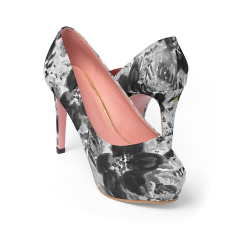 "Grey Floral Women's Platform Heels, Mixed Abstract Flower Print Premium Quality Designer Women's Platform Heels Stiletto Pumps 4"" Heels (US Size: 5-11)"