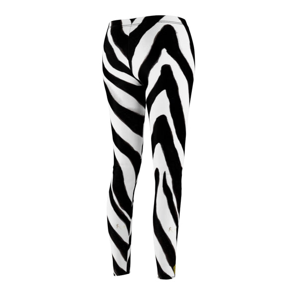 Women's Designer Zebra Stripe Animal Print Skinny Fit Casual Leggings - Made in USA-Casual Leggings-Heidi Kimura Art LLC