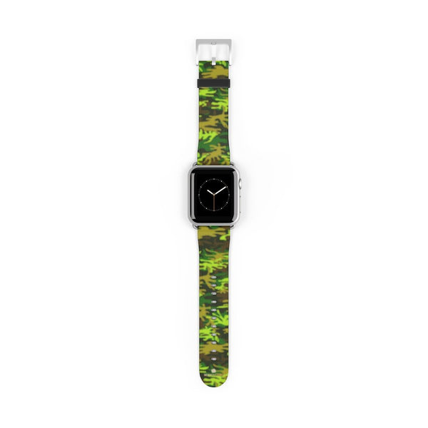 Green Brown Camo Military Print 38mm/42mm Watch Band For Apple Watch- Made in USA-Watch Band-38 mm-Silver Matte-Heidi Kimura Art LLC